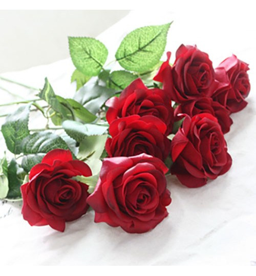 OURLOVE - 10 Heads Rose Artificial Flowers Silk Flowers Floral Home Wedding Party Garden Bridal Hydrangea Decoration Red