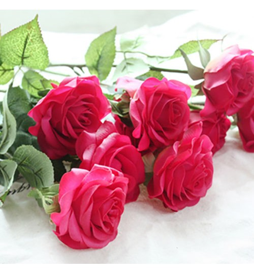 OURLOVE - 10 Heads Rose Artificial Flowers Silk Flowers Floral Home Wedding Party Garden Bridal Hydrangea Decoration Rose
