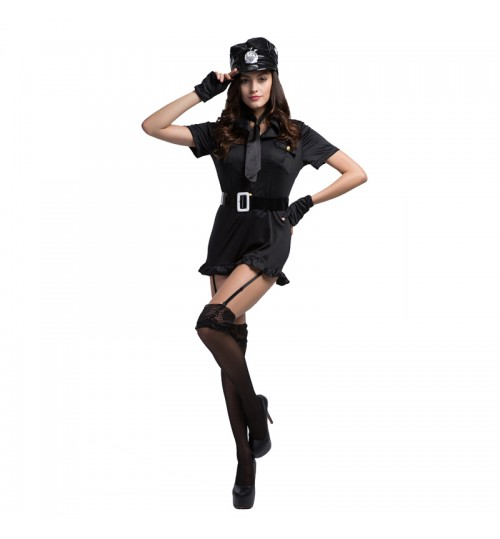 MABOOBIE - Girl Woman Cop Officer Uniform Halloween Adult Fancy Dress Policewoman Costume Falbala Black