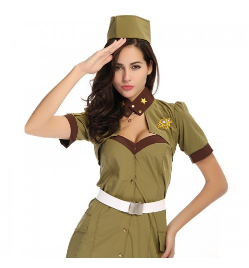 MABOOBIE - Girl Woman Cop Officer Uniform Halloween Adult Fancy Dress Policewoman Costume Army Green