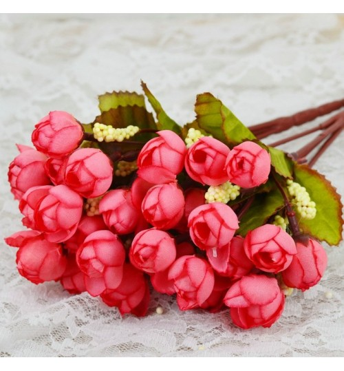 OURLOVE - Mini Rose Artificial Decorative Flowers Wreaths Wedding Party Decoration Christmas Gift Red
