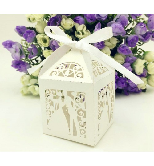 OEM - 50 Pcs Bride Wedding Box In Pearlescent Paper Party Show Candy White