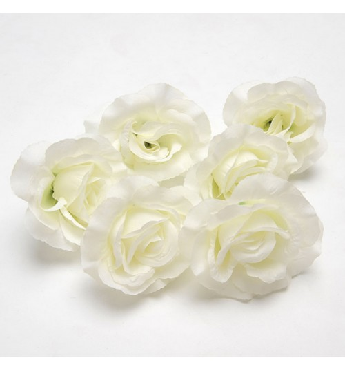 OURLOVE - 6 Pcs Fake White Rose Artificial Flower Heads Home Garden Bridal 410cm