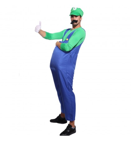 MABOOBIE - Mens Super Mario Brothers Bros Costume Hat Moustache Party Fancy Dress Blue Green