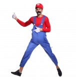MABOOBIE - Mens Super Mario Brothers Bros Costume Hat Moustache Party Fancy Dress Blue Red