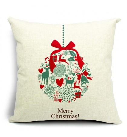 LX - New Year Xmas Home Decor Cotton Cushion Cover Throw Sofa Pillow 17 Inch Christmas