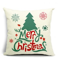 LX - New Year Xmas Home Decor Cotton Cushion Cover Throw Sofa Pillow 17 Inch Christmas Trees