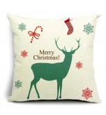 LX - New Year Xmas Home Decor Cotton Cushion Cover Throw Sofa Pillow 17 Inch Deer Green