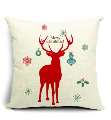 LX - New Year Xmas Home Decor Cotton Cushion Cover Throw Sofa Pillow 17 Inch Deer Red