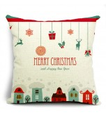 LX - New Year Xmas Home Decor Cotton Cushion Cover Throw Sofa Pillow 17 Inch House
