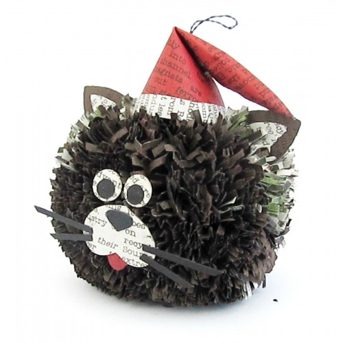 936fd8393b2f2 OURLOVE - Cat Xmas Tree Decoration Recycled Paper Cat In Santa Hat