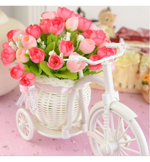 OEM - White Tricycle Bike Design Flower Basket Storage Container Party