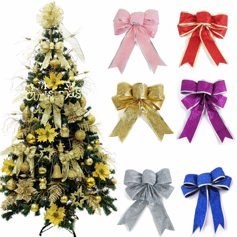 Christmas Tree Bows Decorations: Bow Shape Flannel Christmas Decoration Xmas